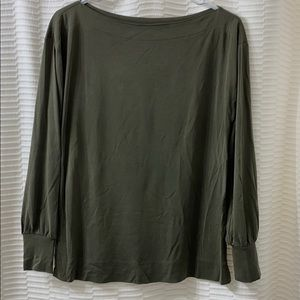 Olive boat neck tee